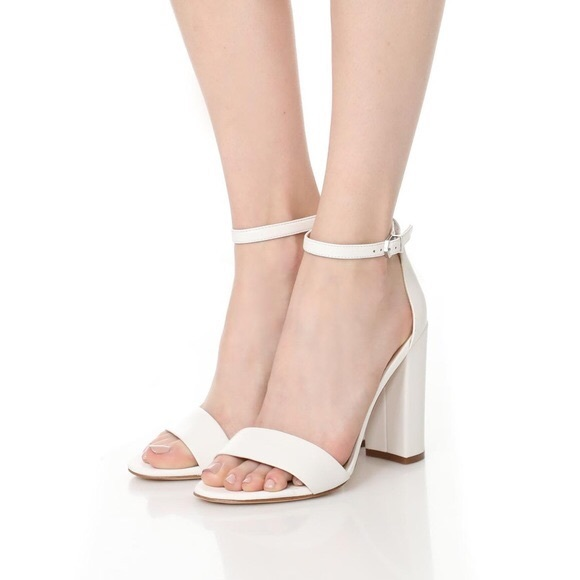 5a28ab7ef762 Sam Edelman Shoes - Sam Edelman White Yaro Ankle Strap Chunky Heels 7
